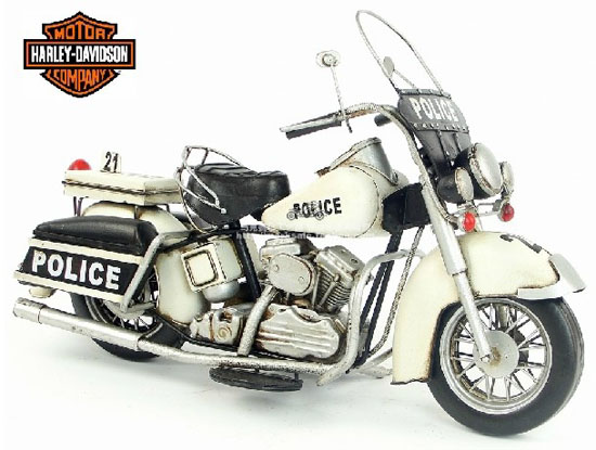 White-Black Large Scale 1978 Harley Davidson Police Motorcycle