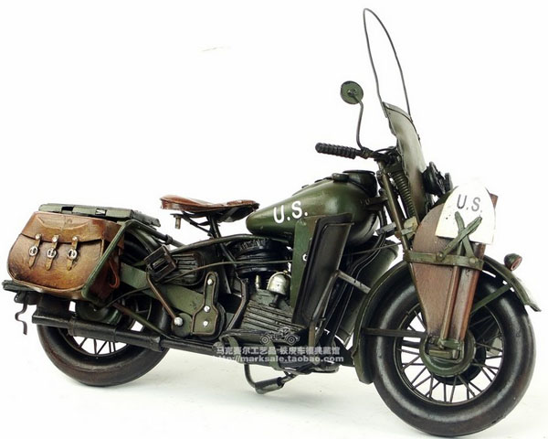 Army Green Tinplate 1942 Harley Davidson WLA Army Motorcycle
