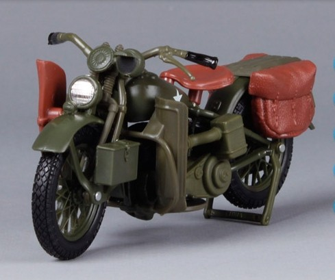 1:18 Scale Army Green Harley Davidson 1942 WLA FLAT HEAD
