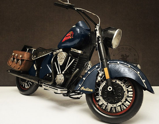 Large Scale Handmade Blue Vintage Tinplate 1947 Indian Model