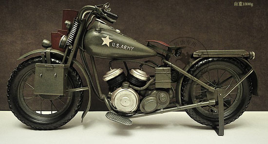 Army Green Large Scale Tinplate Harley Davidson 1944 WLA Model