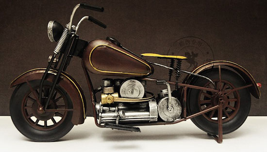 Medium Scale Brown Vintage 1926 Harley Davidson Model