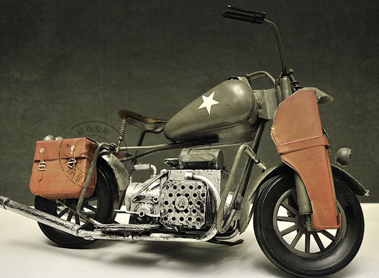 Army Green Medium Scale 1942 Harley Davidson WLA Model