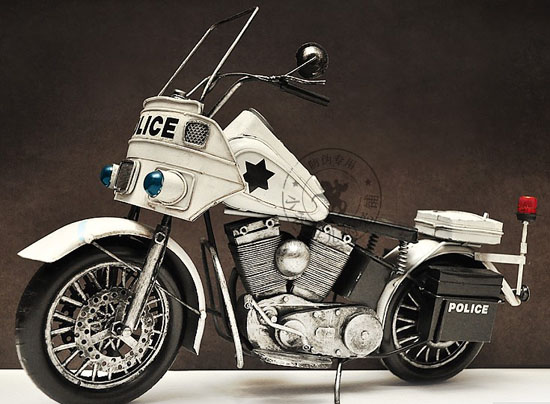 Large Scale White Police 1940s Harley Davidson Model