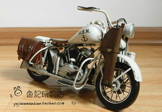 Large Scale White Vintage U.S.N Harley Davidson Model
