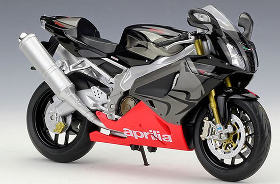 1:10 Scale Black / White Welly Aprilia RSV 1000R