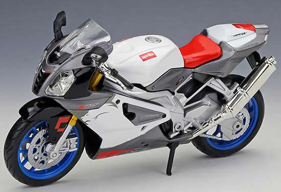 MAISTO DIECAST MODEL CAR White Aprilia RSV 1000 Motorcycle 1//12 SCALE NEW