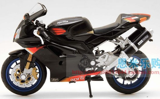 1:18 Scale Black Aprilia RSV 1000 Motorcycle