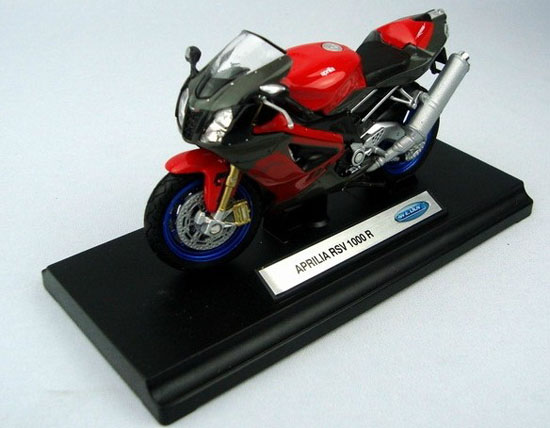1:18 Scale Red Welly Aprilia RSV 1000 R Motorcycle