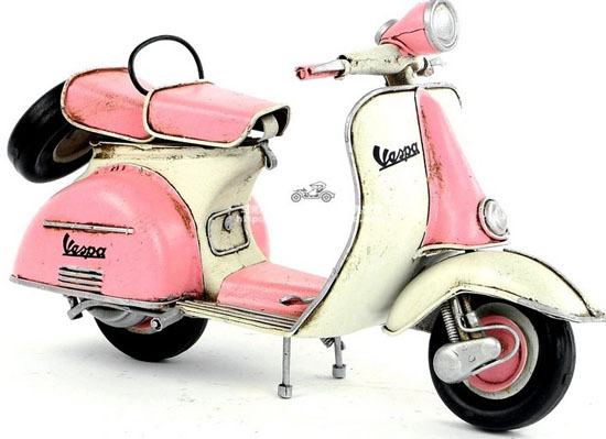 White-Pink Medium Scale Vintage Tinplate 1965 Vespa Model