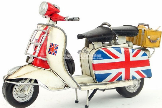 White-Black National Flag Medium Scale 1965 Vespa Model