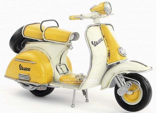White-Yellow Medium Scale Tinplate Vintage 1965 Vespa Model