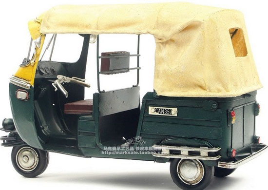 Blue-Yellow Large Scale Tinplate 1948 Vespa Taxi Model