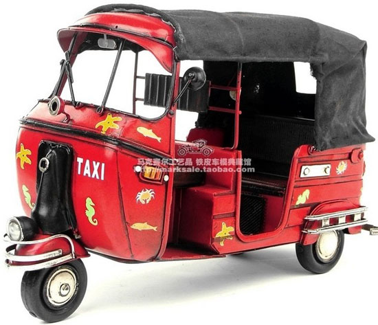 Large Scale Red-Black Tinplate 1948 Vespa Taxi Model