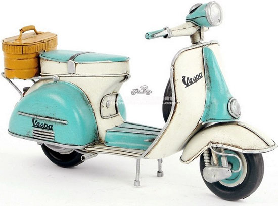 Blue-White Medium Scale Tinplate Vintage 1965 Vespa Model