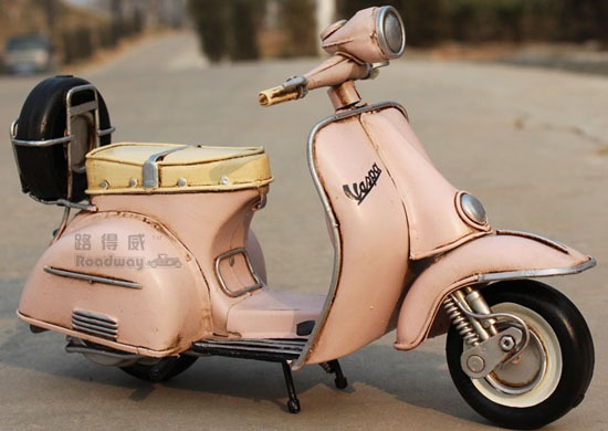 Medium Scale Pink Tinplate Vintage 1955 Vespa Model