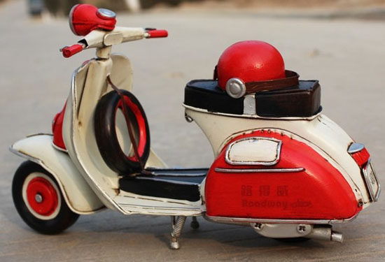 Red-White Medium Scale Tinplate 1958 Vintage Vespa Model