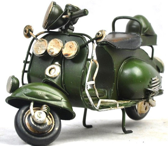 Large Scale Black / Army Green Tinplate Vintage Vespa Model