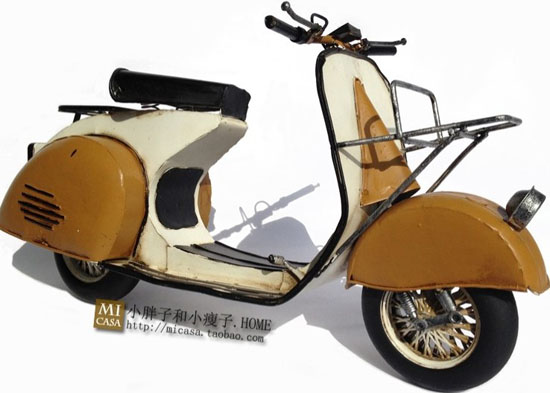 Large Scale Brown-White Tinplate Vintage Vespa Model