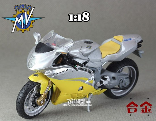 Yellow-Silver 1:18 Scale MV Agusta F4-1000 Model
