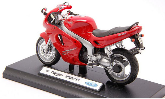 Red 1:18 Scale Welly Triumph SPRINT ST Motorcycle Model