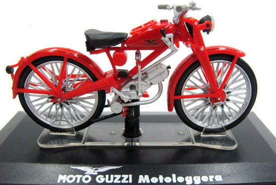 Red 1:22 Scale Diecast MOTO GUZZI Motoleggera Model