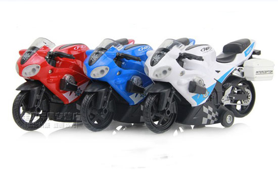 Red / White / Blue Kids Police Pull-Back Function Motorcycle Toy