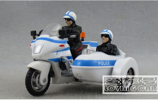 White-Blue Kids Pull-Back Function Police Motorcycles Toy