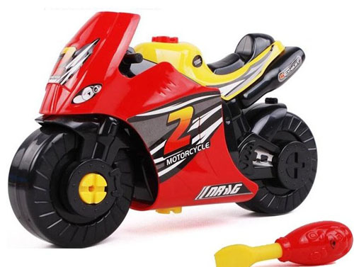 Kids Red / Blue Plastics DIY Motorcycle Toy