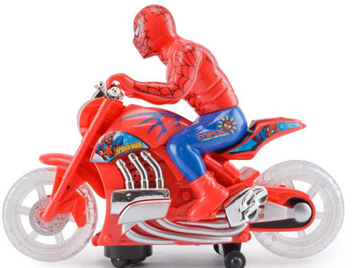 Kids Red Plastics Spider-Man Electric Motorcycle Toy