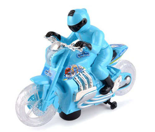 Blue / Green Plastics Driver Figure Electric Motorcycle Toy