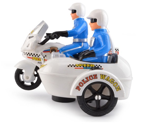 Kids White Police Theme Plastics Electric Motorcycle Toy ...