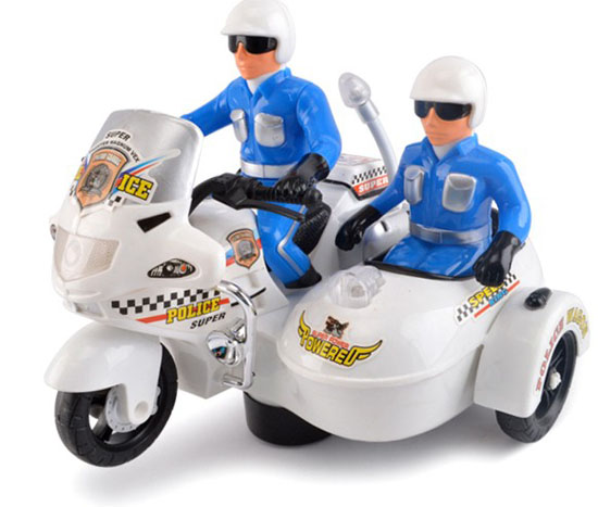 Kids White Police Theme Plastics Electric Motorcycle Toy