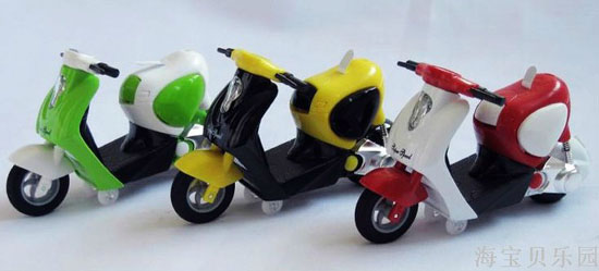 Mini Scale Kids Green / Yellow / Red Vespa Motorcycle Toy