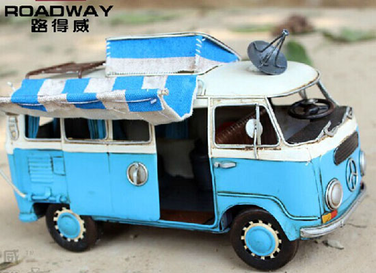 Red / Green Tinplate Vintage Style VW Motor Homes Model