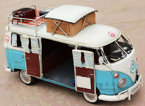 Vintage White-Blue / Red Tinplate 1966 VW Motor Homes Model