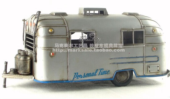 White / Silver Large Scale Tinplate Motor Homes Model