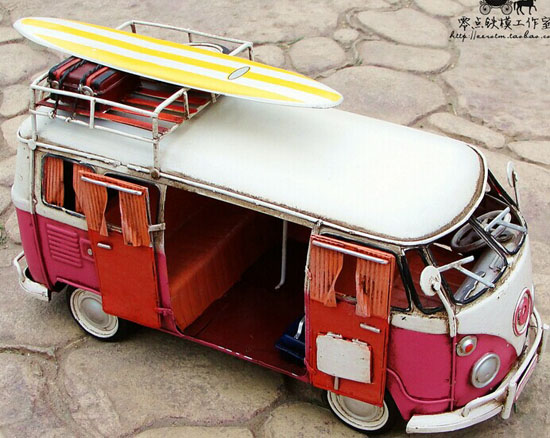 White-Red Tinplate Vintage Style 1966 VW Motor Homes Model