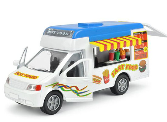 Kids White-Blue Die-Cast Fast Food Motor Homes Van Toy