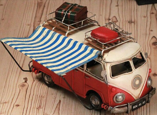 Red / Blue Tinplate Vintage Style VW T1 Motor Homes Model