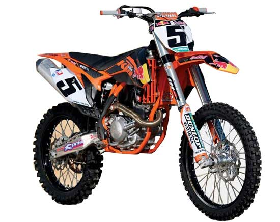 Orange 1:18 Scale Bburago Diecast KTM 450 SX-F Motorcycle Model