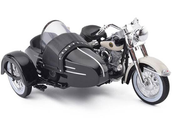 1:18 Scale Black / White Diecast Harley-Davidson Sidecar Model