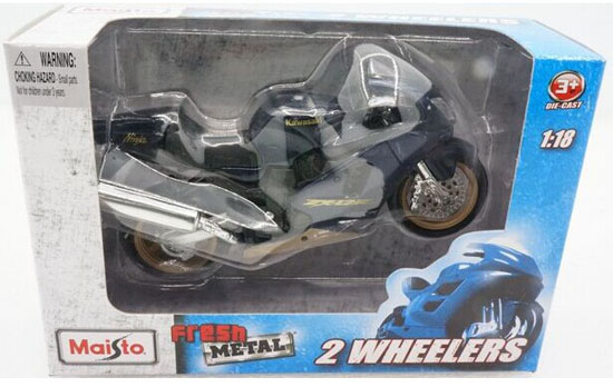 1:18 Scale Silver MaiSto Diecast Kawasaki ZX-12R Motorcycle
