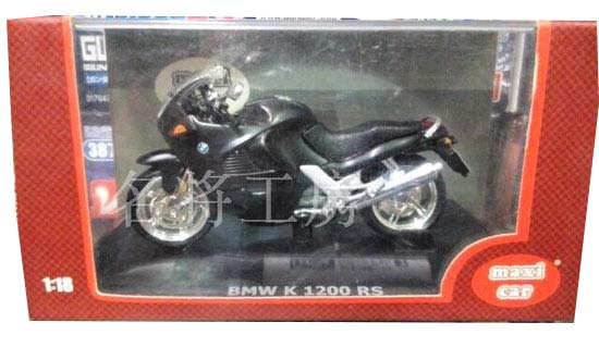 Black 1:18 Scale Diecast BMW K 1200 RS Motorcycle Model
