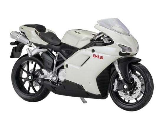 White 1:18 Scale MaiSto Diecast Ducati 848 Motorcycle Model