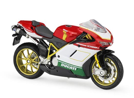Red-White 1:18 Scale MaiSto Diecast DUCATI 1098S Motorcycle