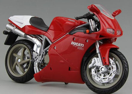 Red 1:12 Scale NewRay Diecast Ducati 998S Motorcycle