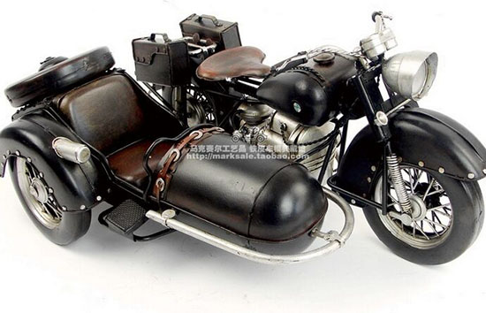 Black Large Scale Tinplate Vintage BMW R71 Motorcycle Model