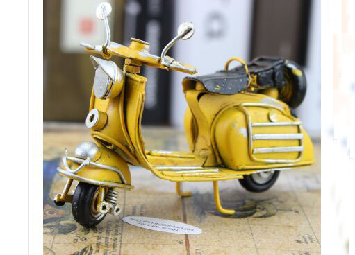 Yellow 1:12 Scale Tinplate Handmade Vintage Vespa Model