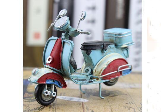 1:12 Scale Tinplate Handmade Colorful Vintage Vespa Scooter
